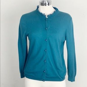 J. Crew Teal Cardigan with a Ruffled Collar